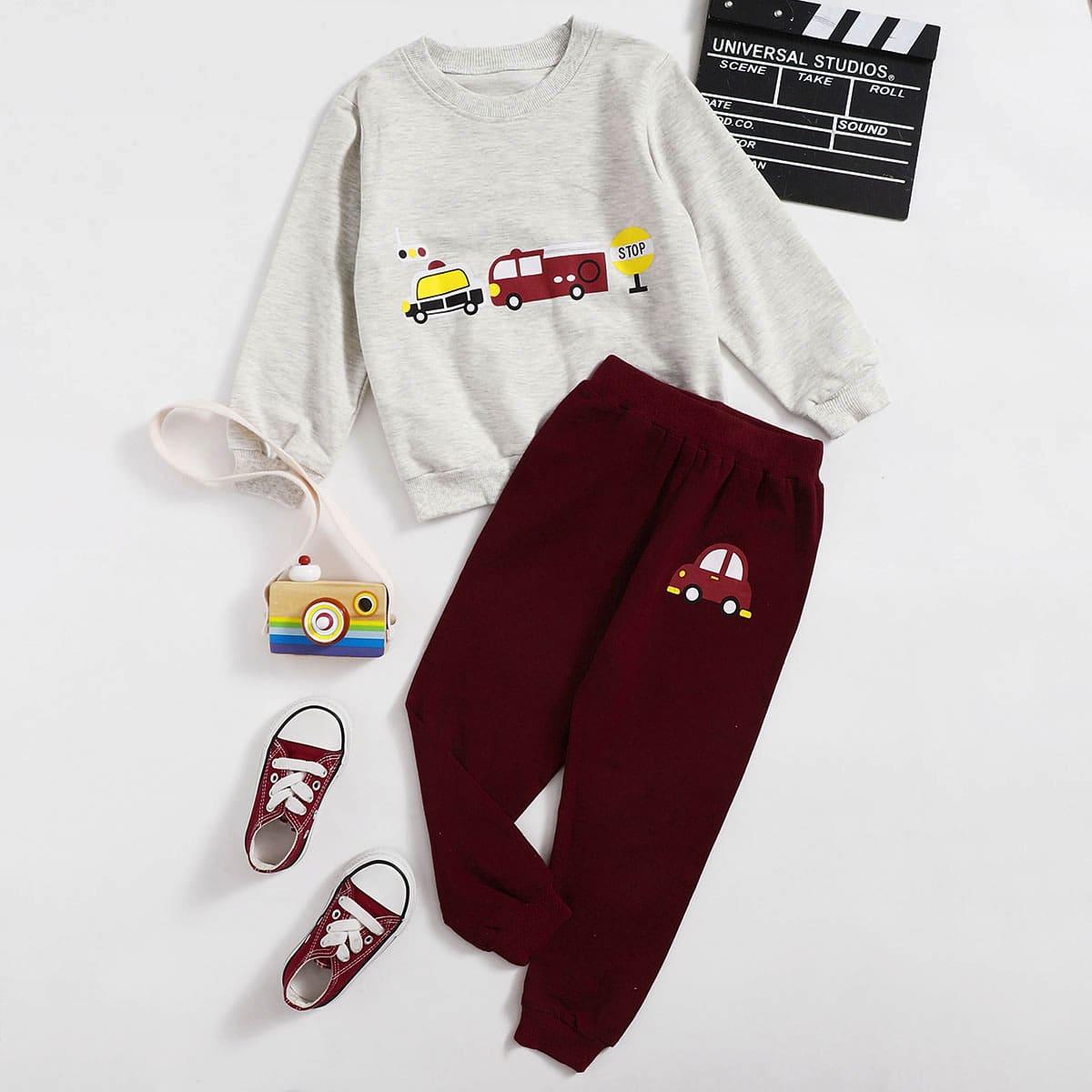 Спортивные брюки и свитшот с оригинальным принтом для мальчиков