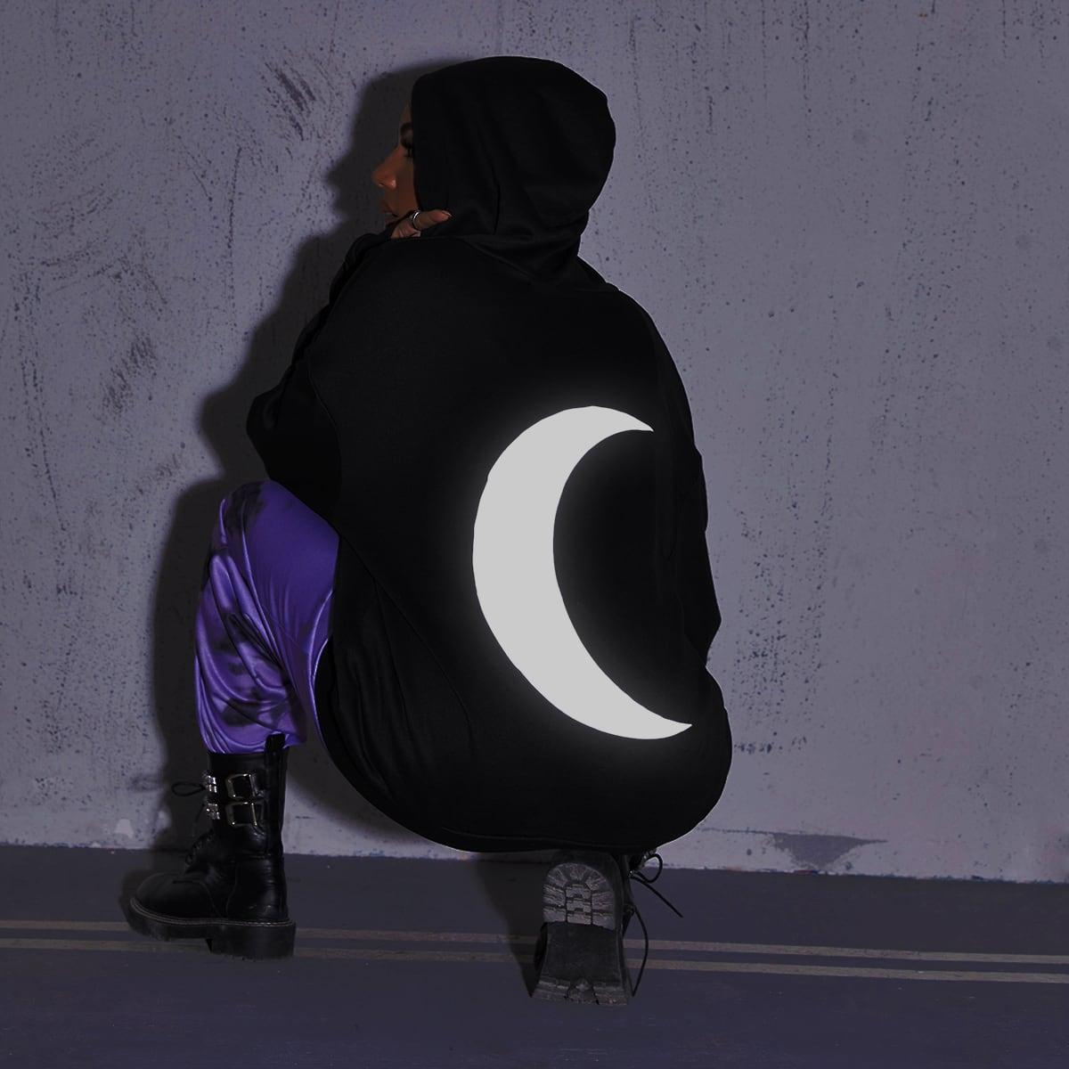Толстовка оверсайз на молнии с принтом луны
