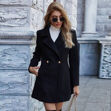 Solid Lapel Neck Double Button Overcoat