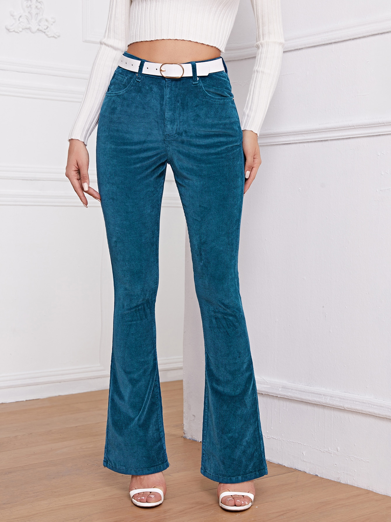 High Waist Cord Flare Leg Pants Without Belt thumbnail