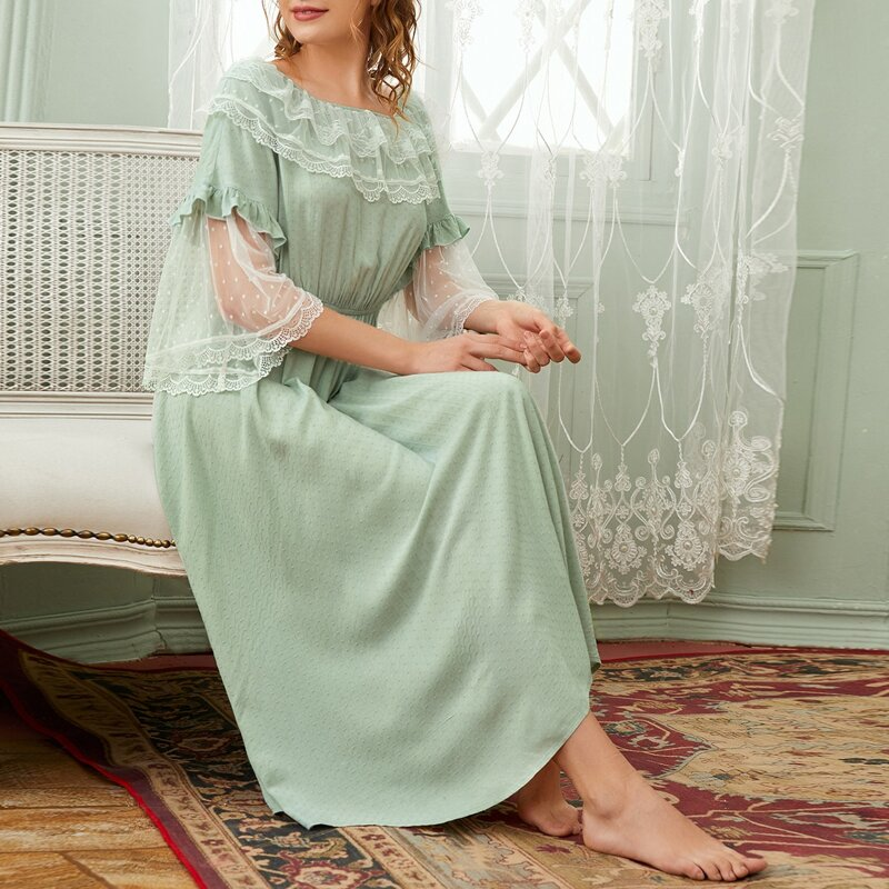 Dobby Mesh and Lace Trim Nightdress, Pastel mint green