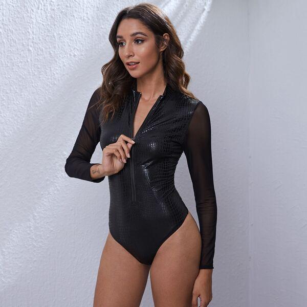 Zip Up Mesh Sleeve Crocodile Embossed Bodysuit, Black