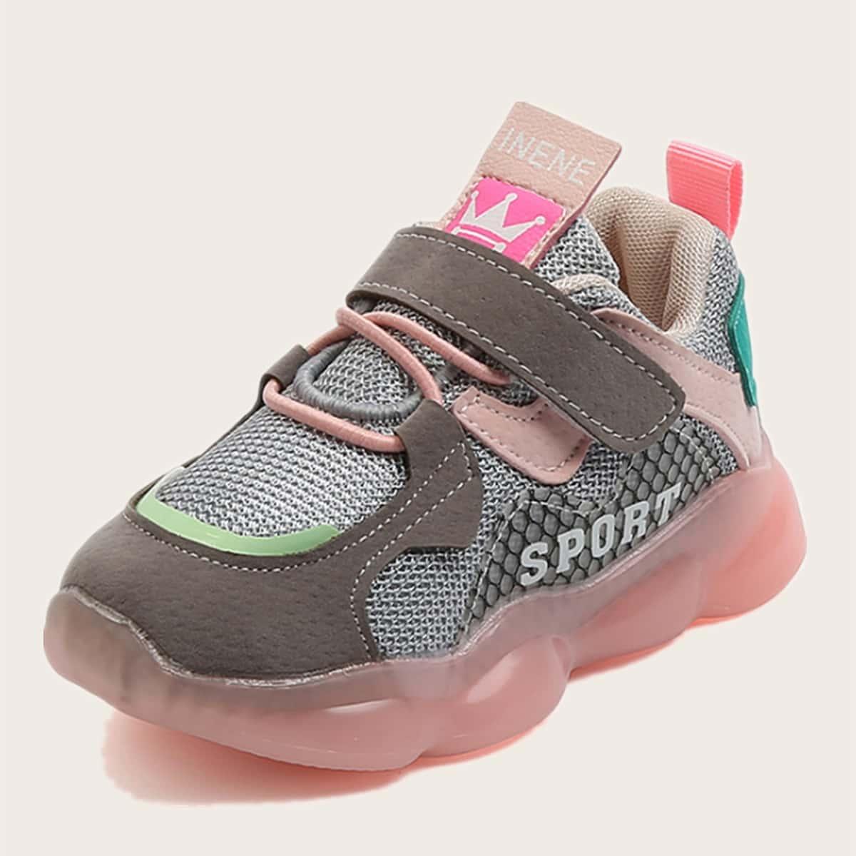 Контрастные кроссовки на липучке для девочек