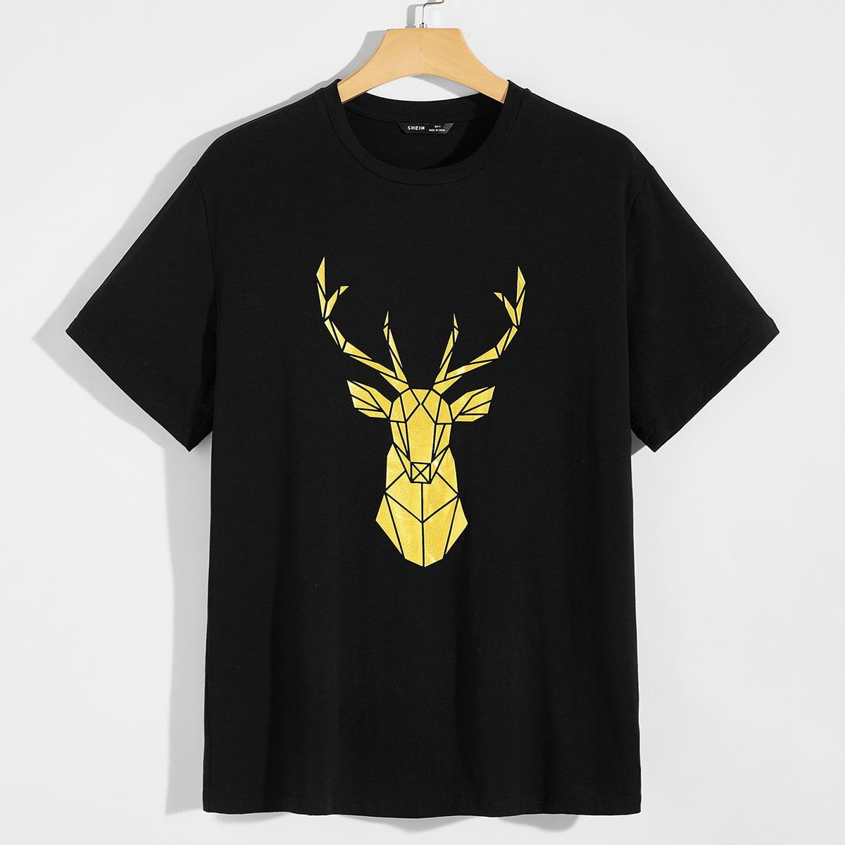 Мужская футболка с принтом лося