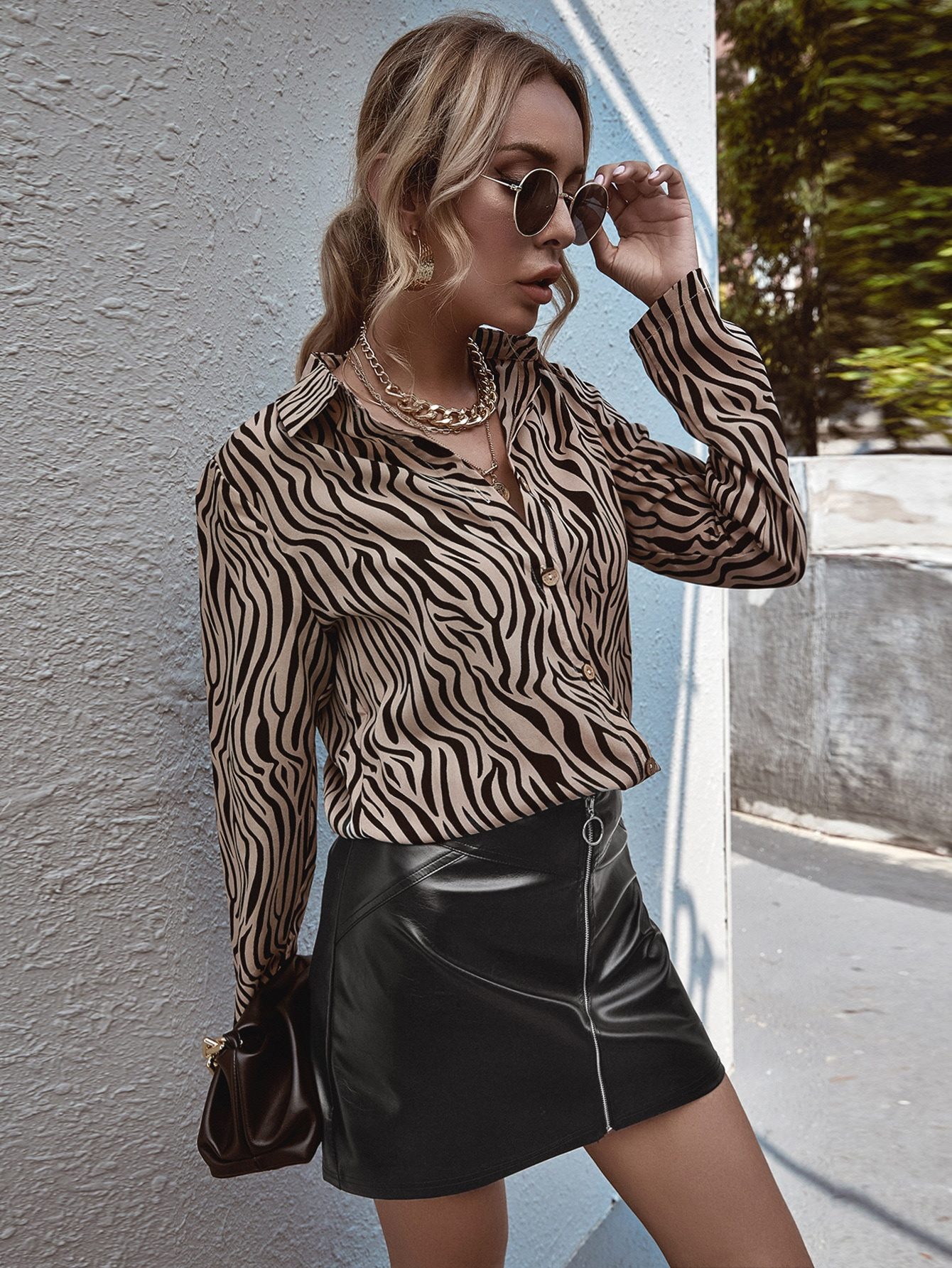Zebra Striped Button Front Blouse thumbnail