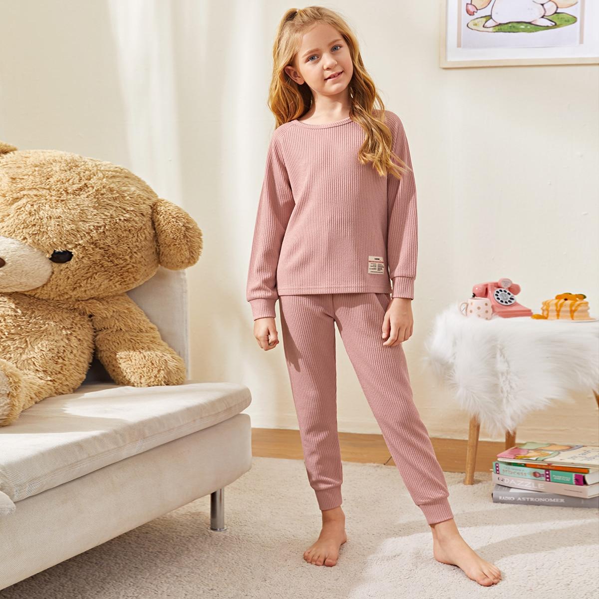Аппликация Текст Повседневный Домашняя одежда для девочек
