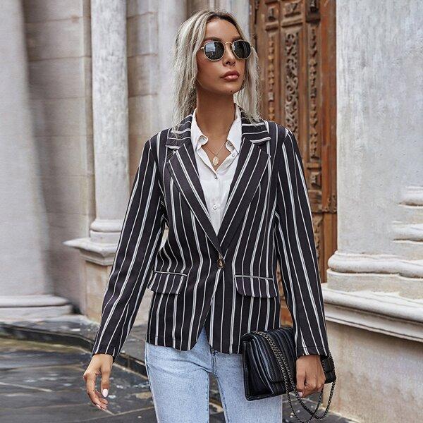 Vertical Stripe Single Button Blazer, Black