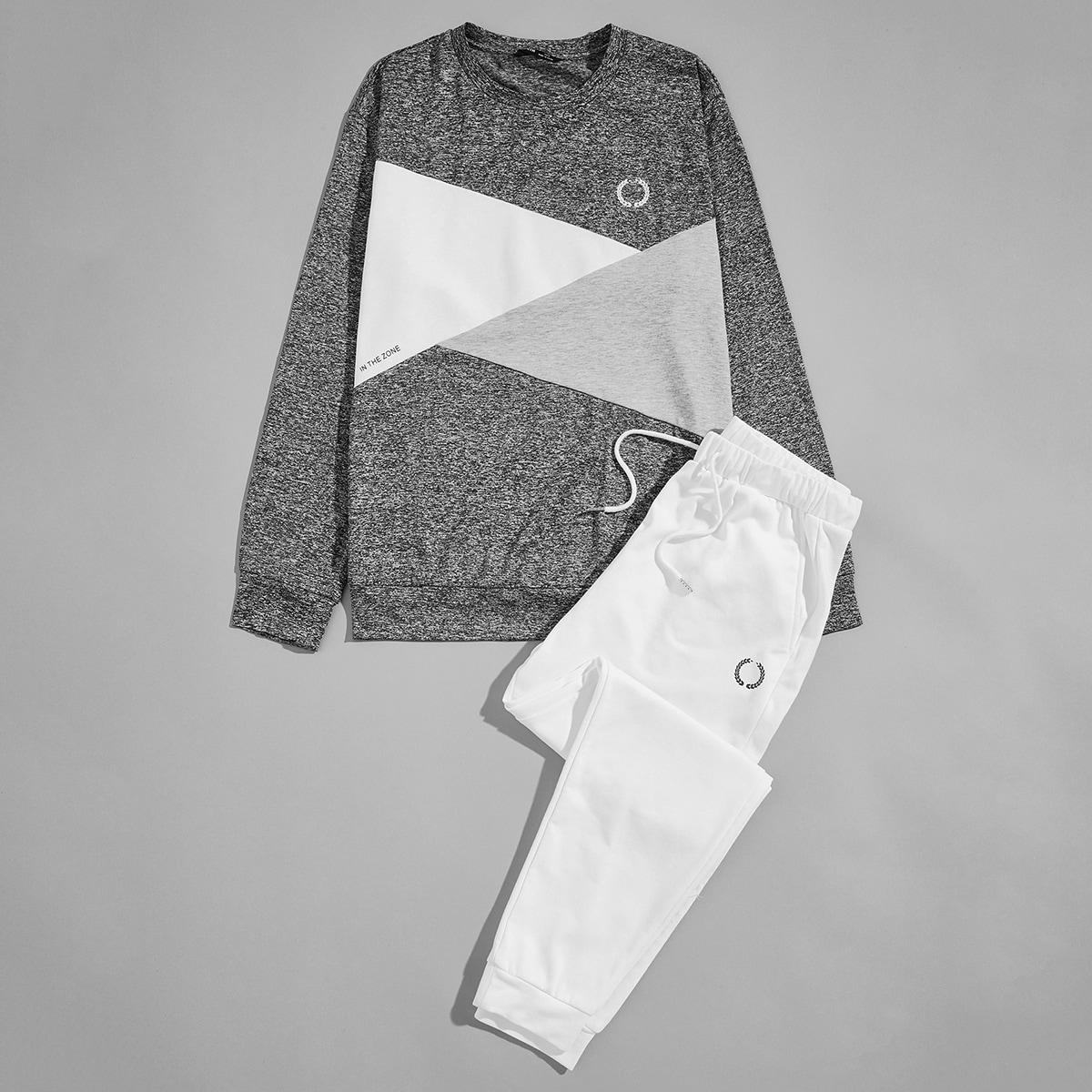 Мужские спортивные брюки и контрастный пуловер с геометрическим принтом