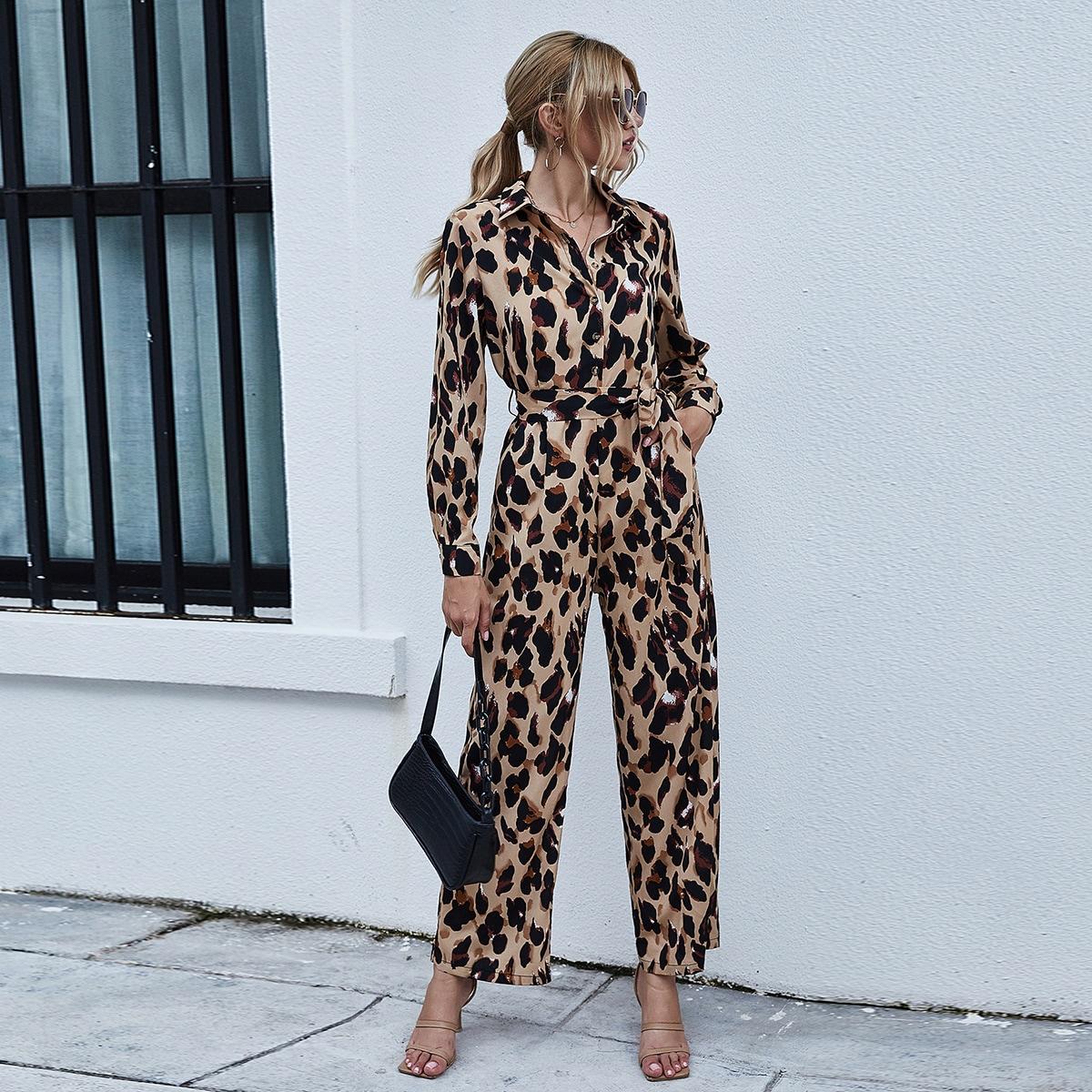 с карманами Леопардовый Элегантный Комбинезон