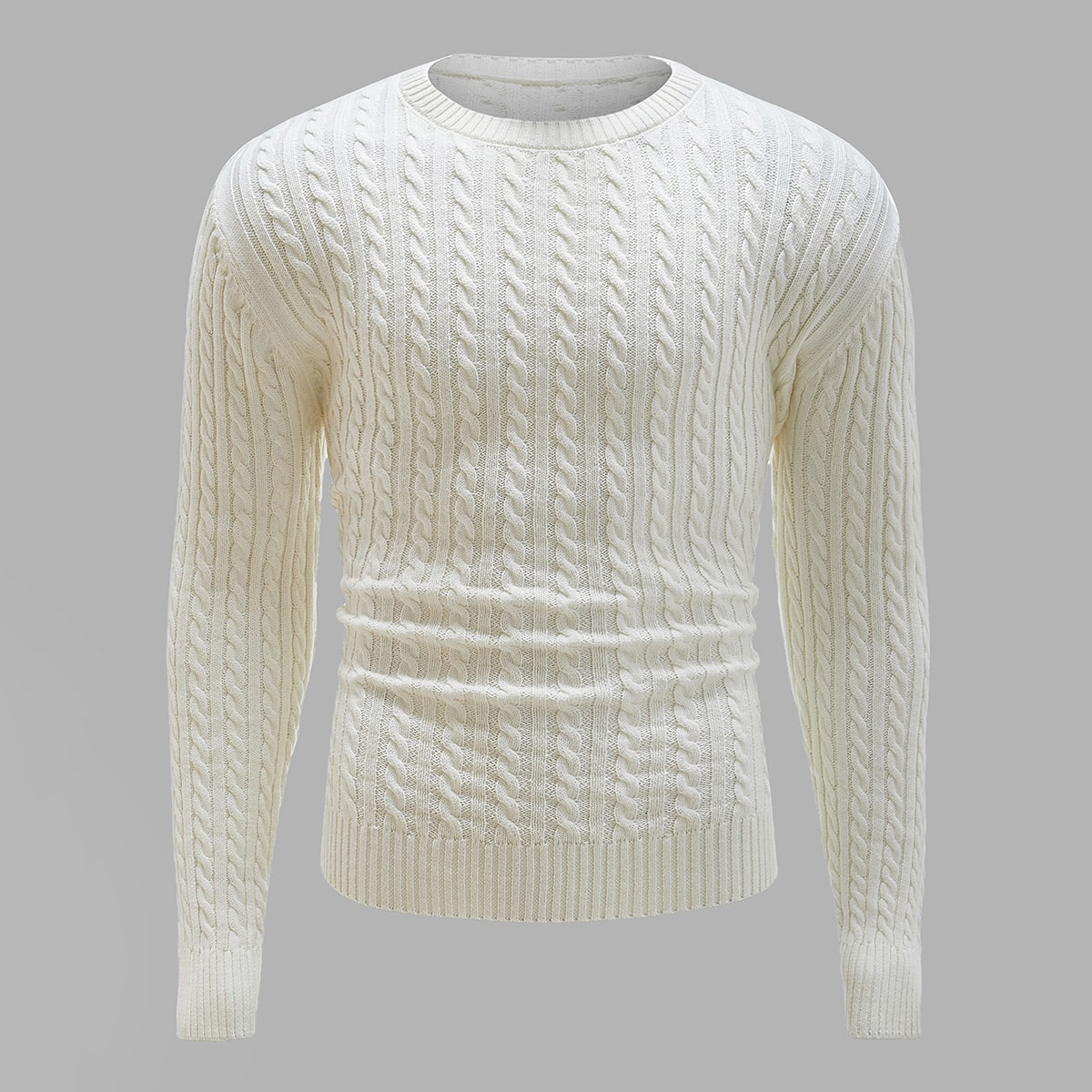 Men Cable Knit Crew Neck Sweater