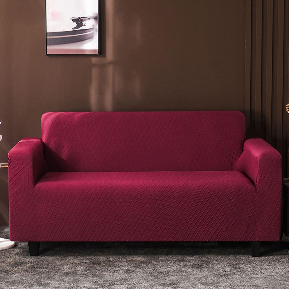 Однотонный эластичный чехол для диван без подушки