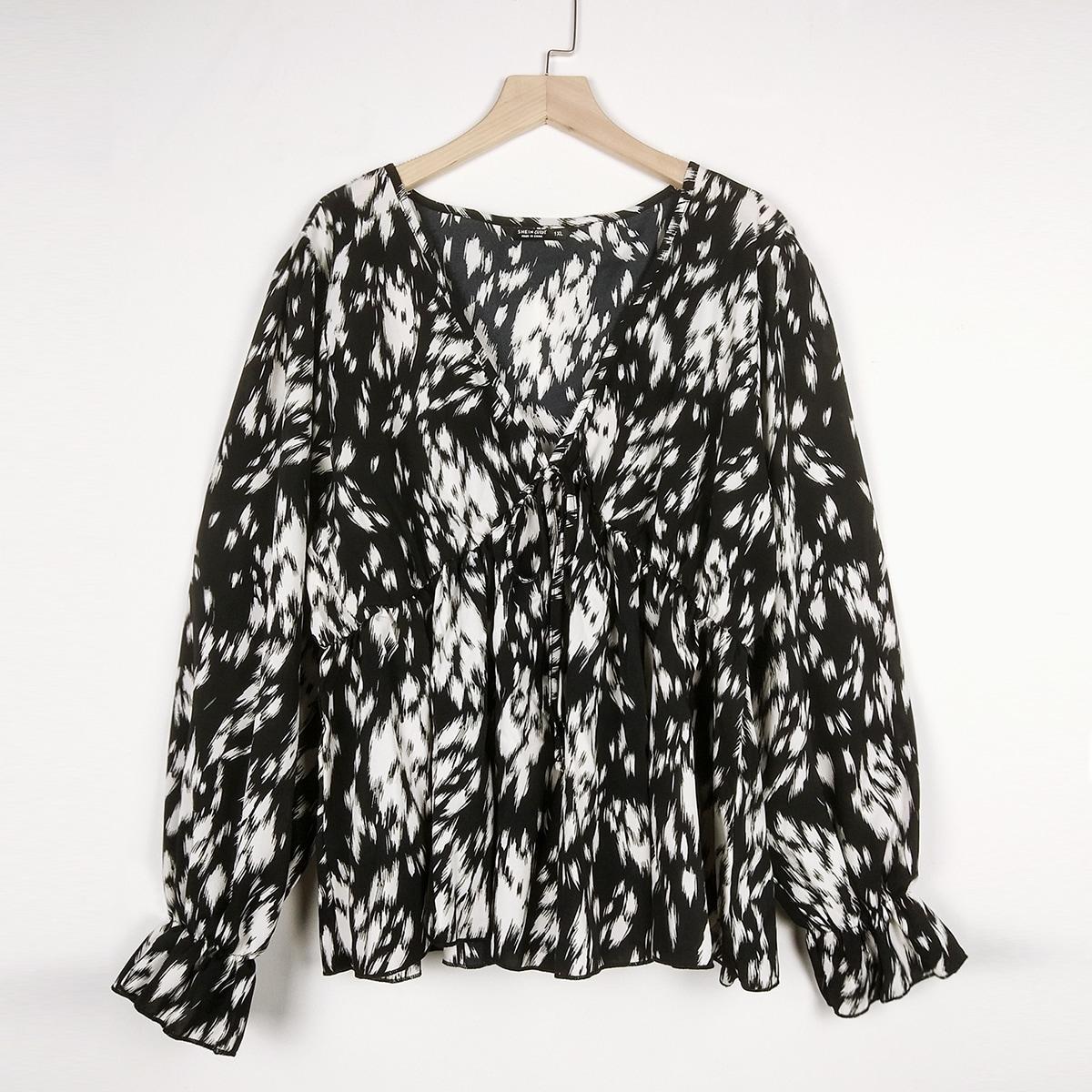 SHEIN Casual Volledig geprint Grote maat blouse Geribd