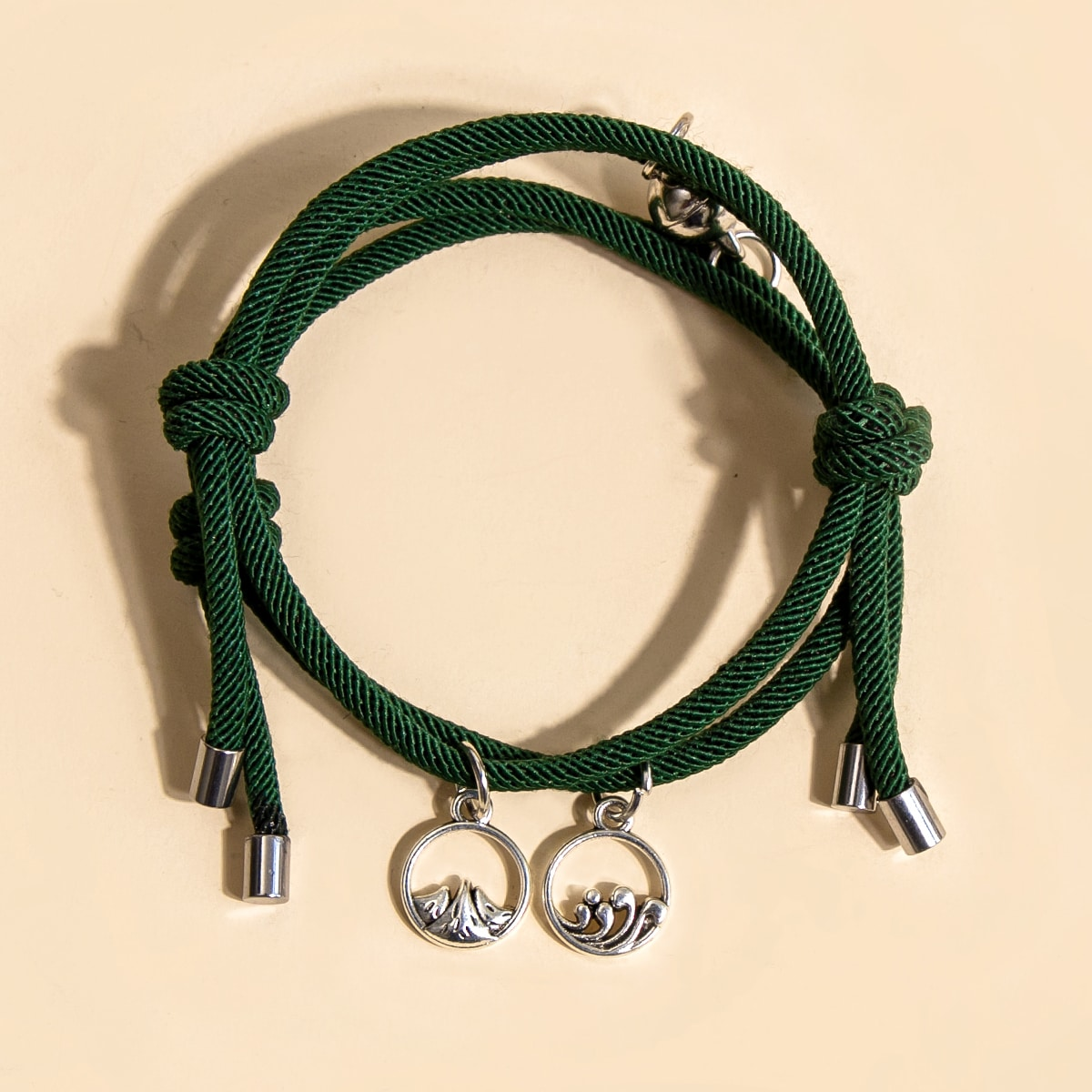 2шт плетеный браслет с круглым декором