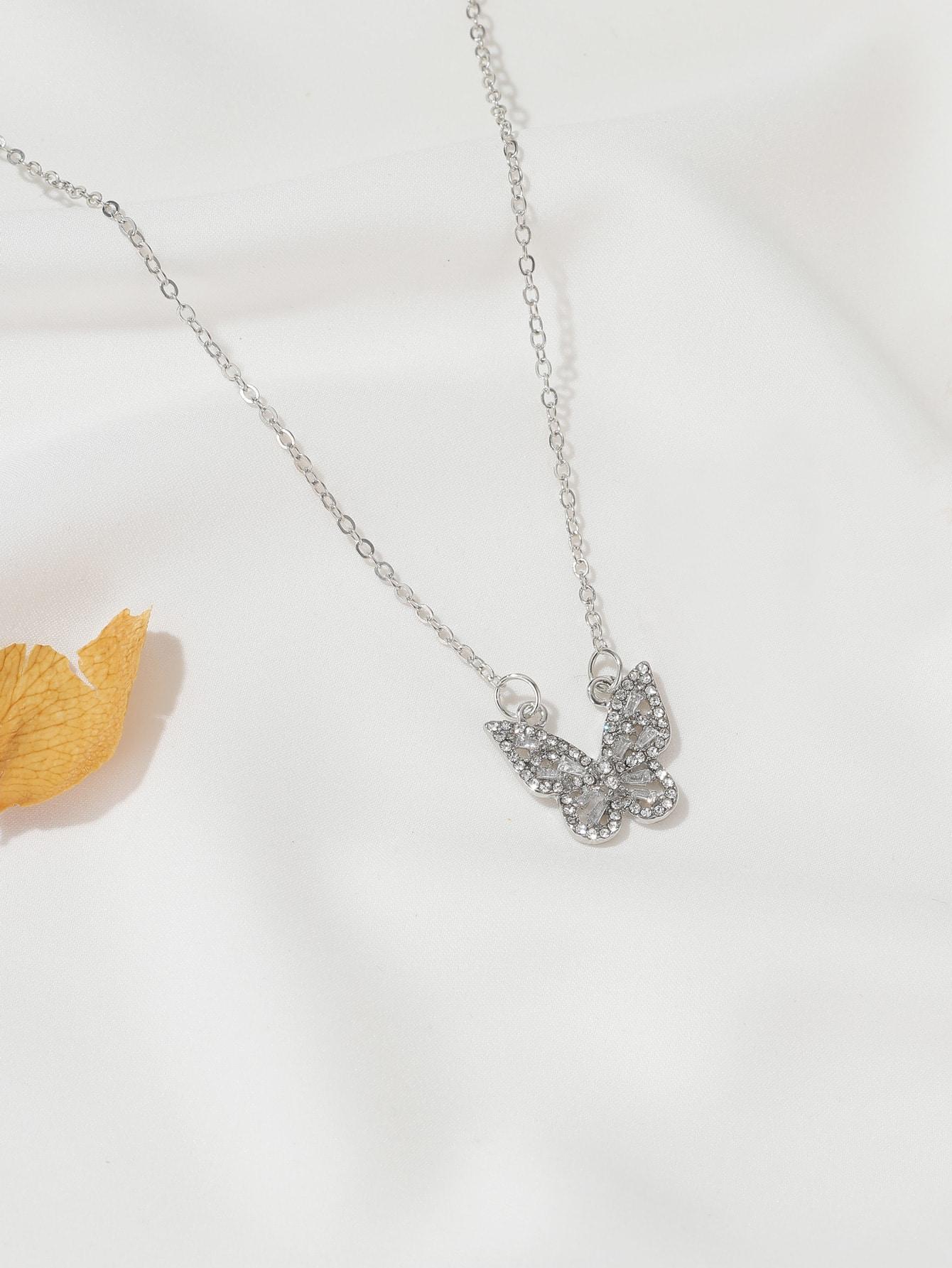 Rhinestone Butterfly Pendant Necklace thumbnail