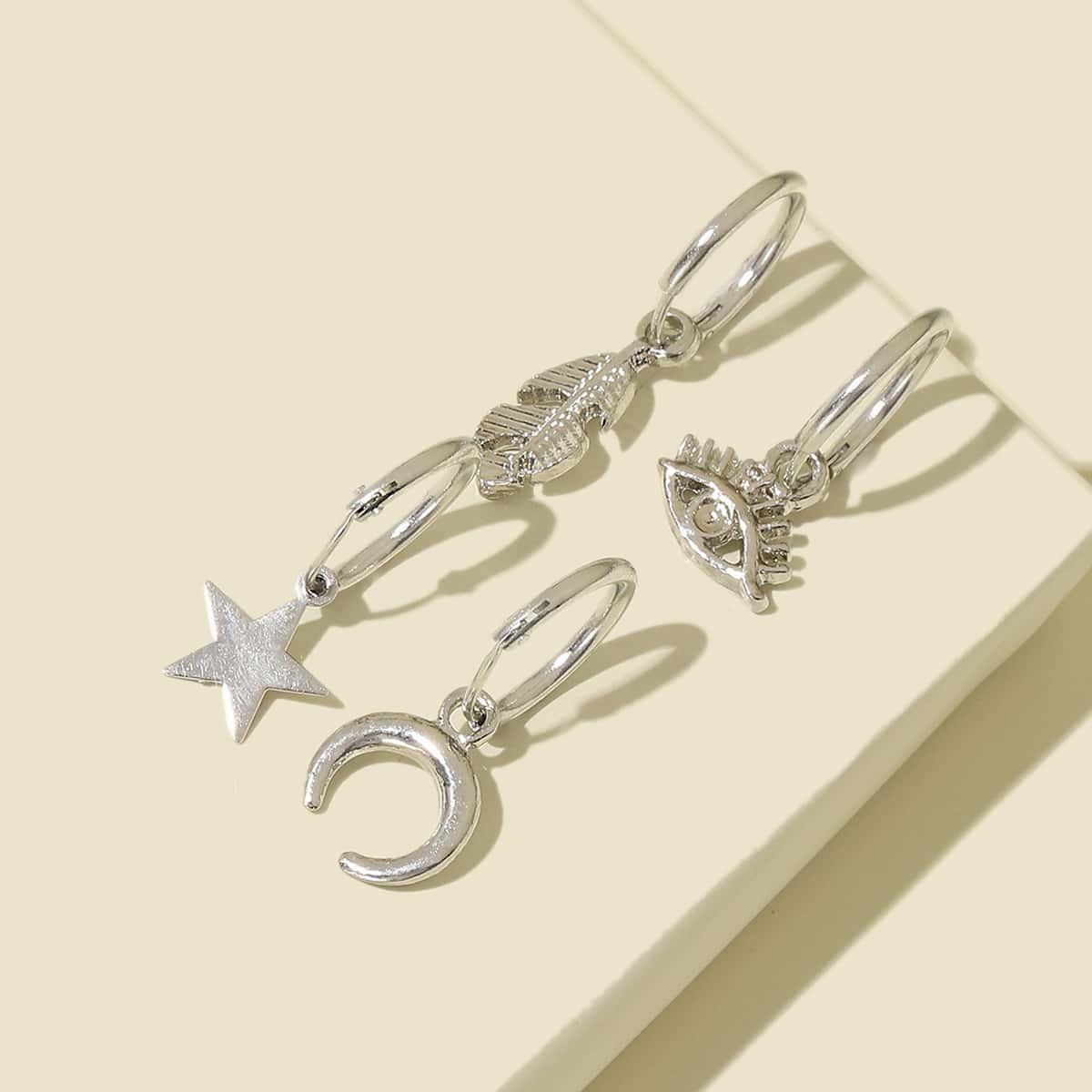 4pcs Star & Eye Drop Earrings