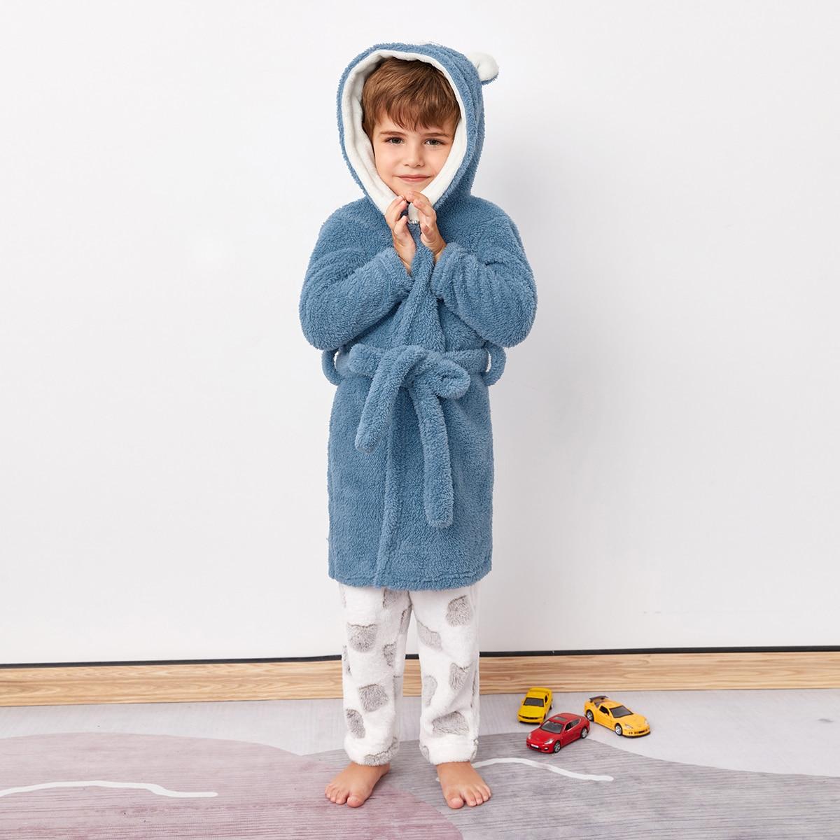 Фланелевый халат с поясом и капюшоном для мальчиков