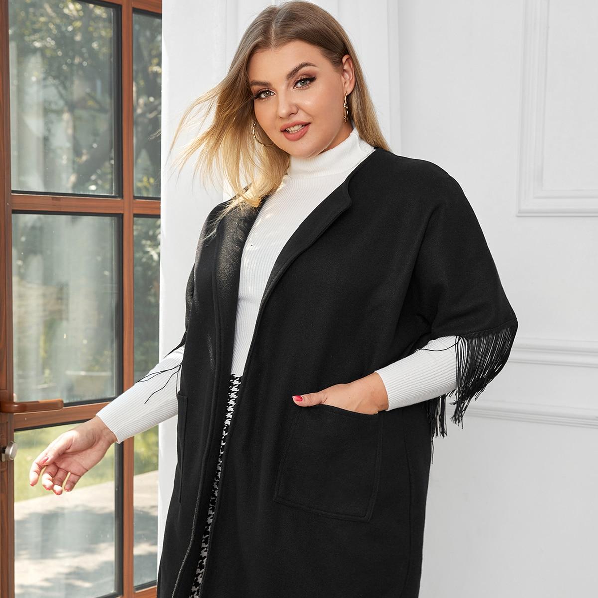 С карманами одноцветный элегантный плюс размеры пальто