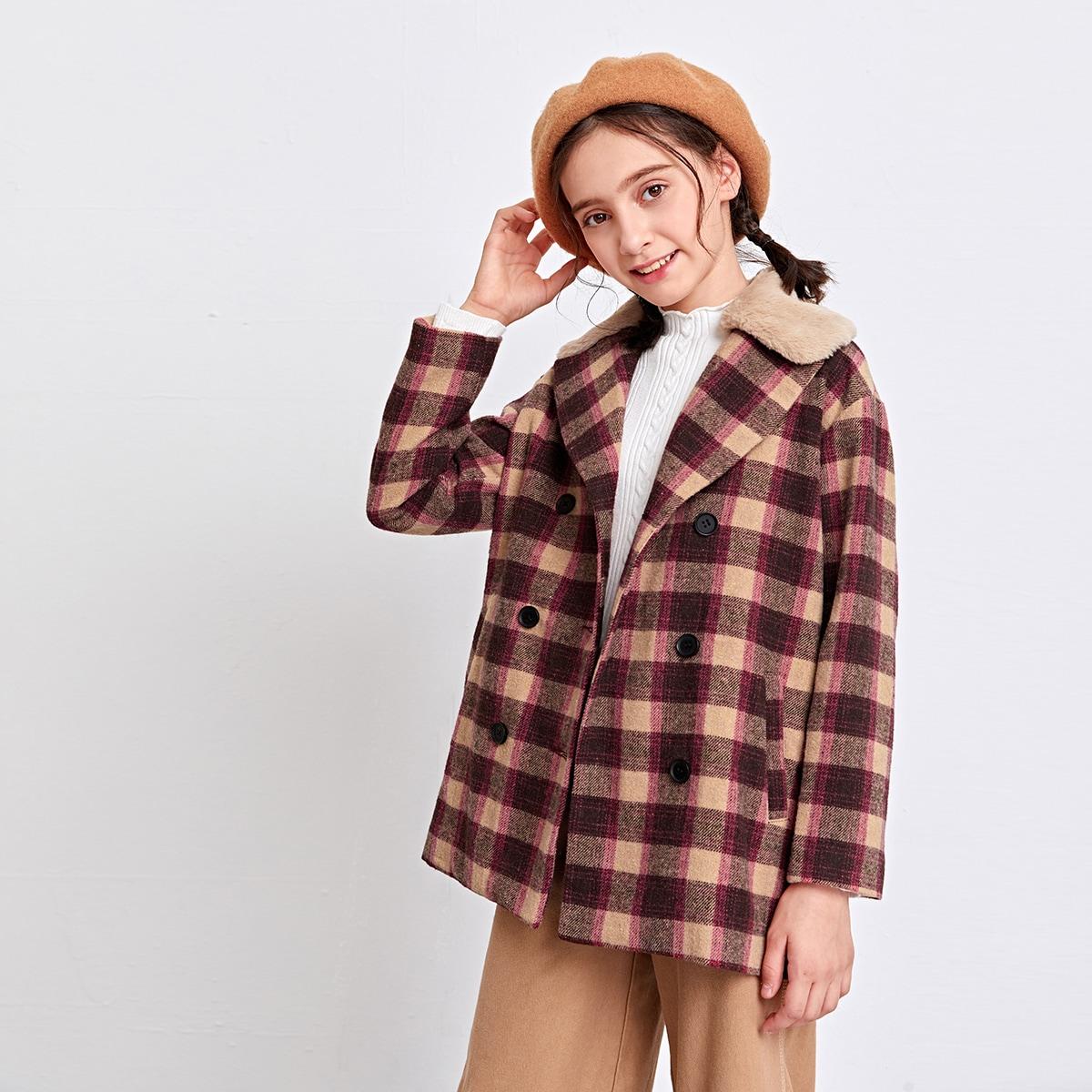 Mantel mit Kontrast Kunstpelz am Kragen und Karo Muster