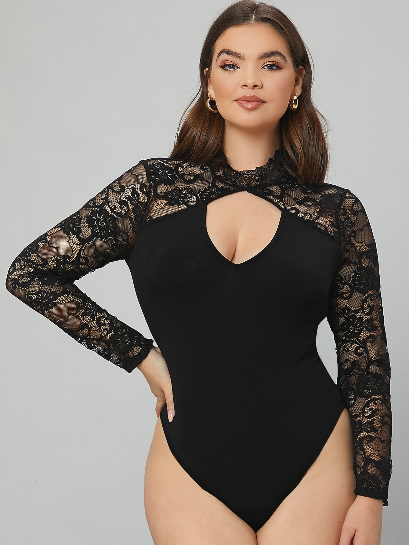 Plus Cutout Front Lace Yoke Bodysuit thumbnail