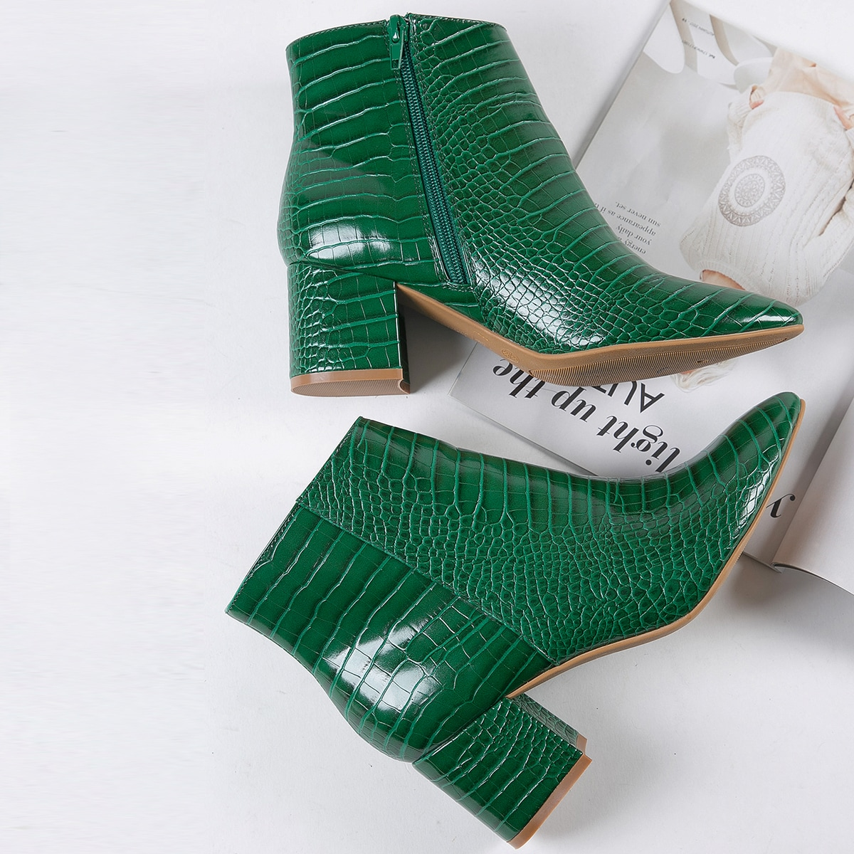 Faux Croc Leather Ankle Booties