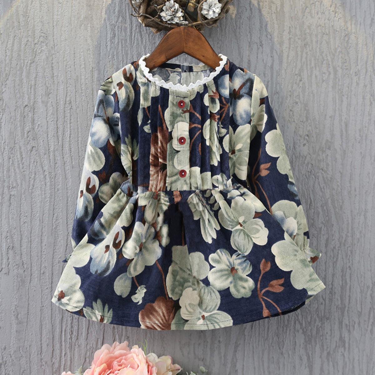 Вельветовая блуза с цветочным принтом и пуговицами для девочек