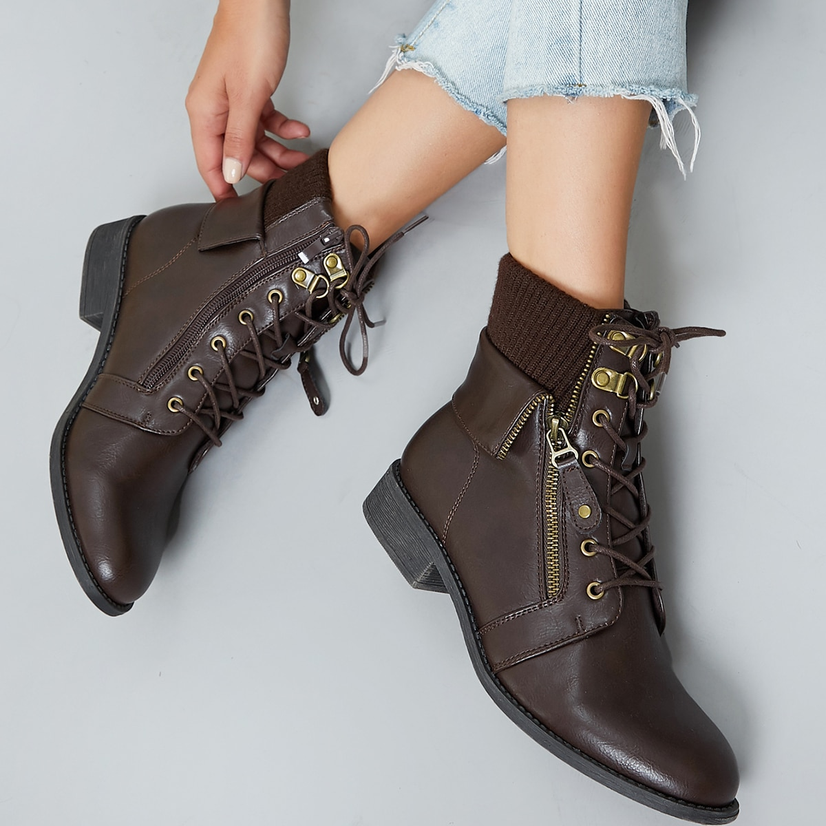 Rib Knit Collar Lace Up Flat Hiking Boots