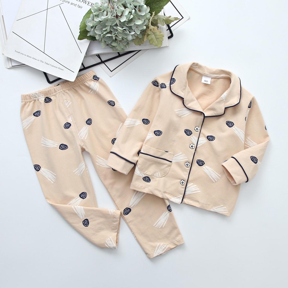 Пижама с контрастной отделкой и принтом для мальчиков
