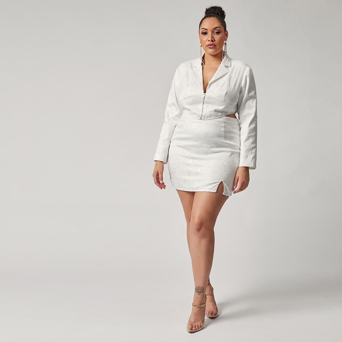 Жаккардовый пиджак размера плюс с молнией