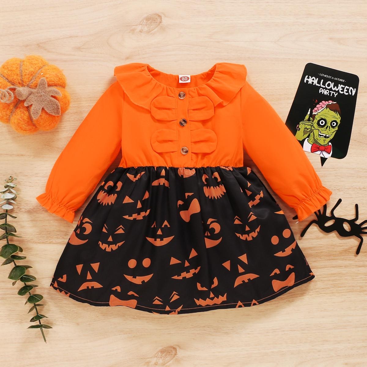Платье с оборками и принтом хэллоуина для девочек