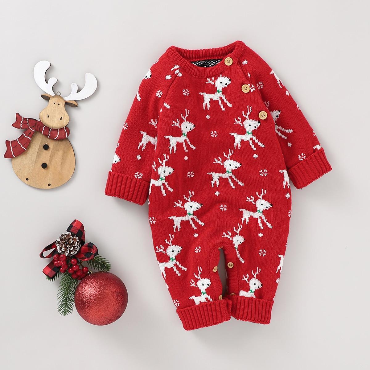 Детский рождественский трикотажный комбинезон с принтом оленя