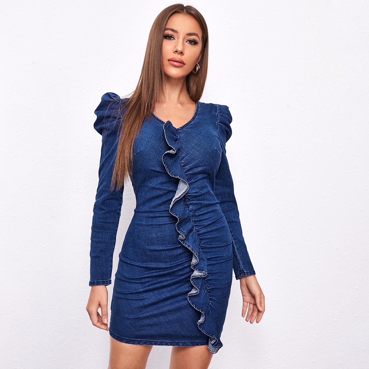 На молнии одноцветный повседневный джинсовые платья