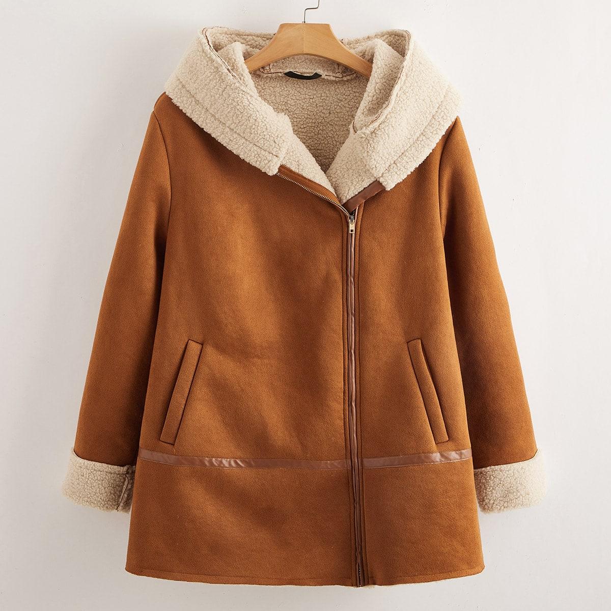 Замшевое пальто с капюшоном на молнии размера плюс