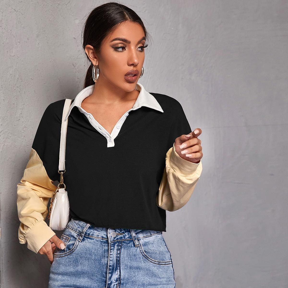 Контрастная рубашка-поло