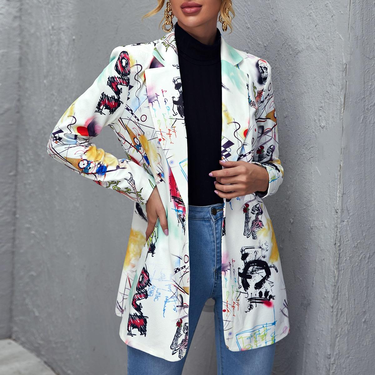 Пиджак с принтом поп-арт и пуговицей