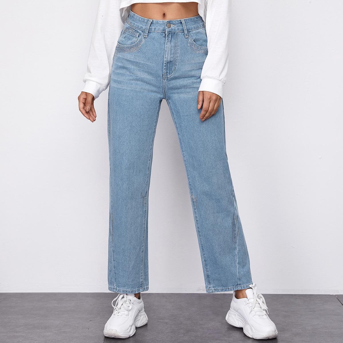 Контрастные блестящие прямые джинсы