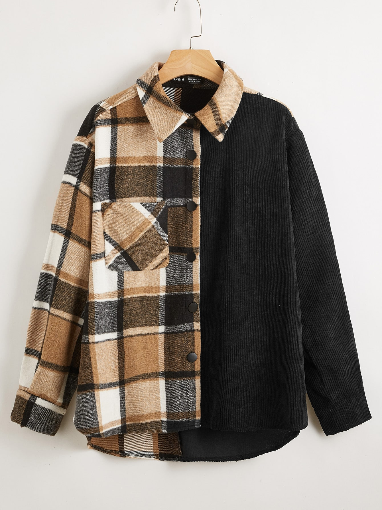 Pocket Patched Plaid Spliced Coat thumbnail