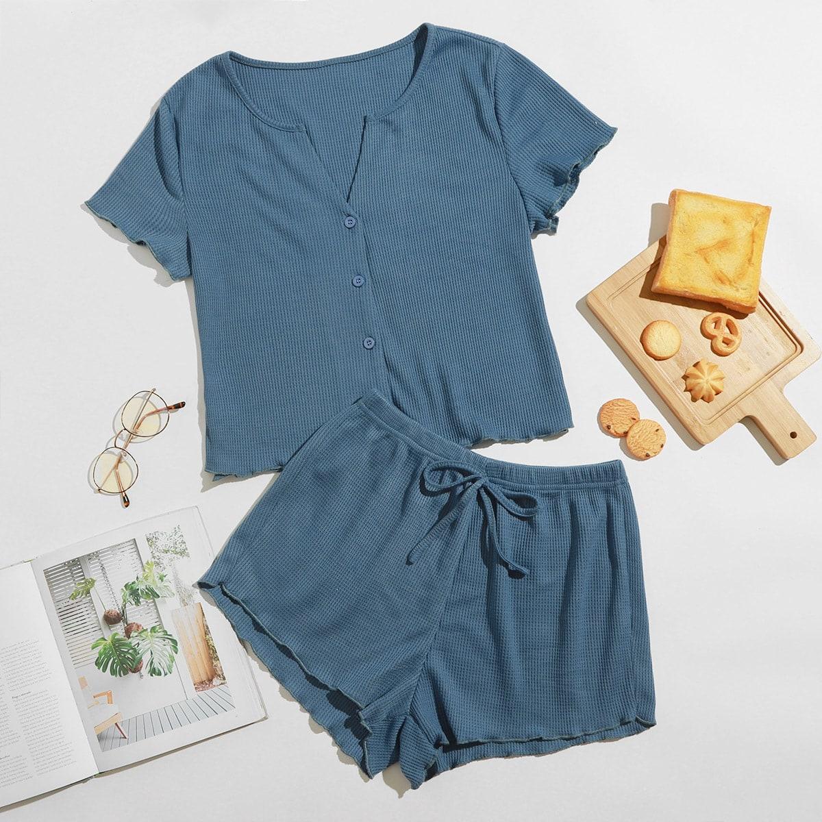 Однотонный комплект одежды в рубчик