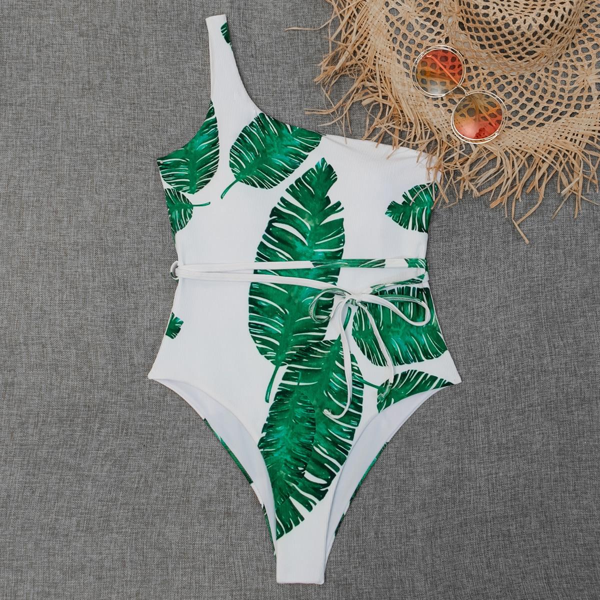 Слитный купальник в рубчик на одно плечо с тропическим принтом