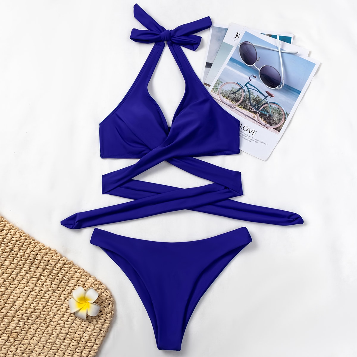 Crisscross Wrap Bikini Swimsuit