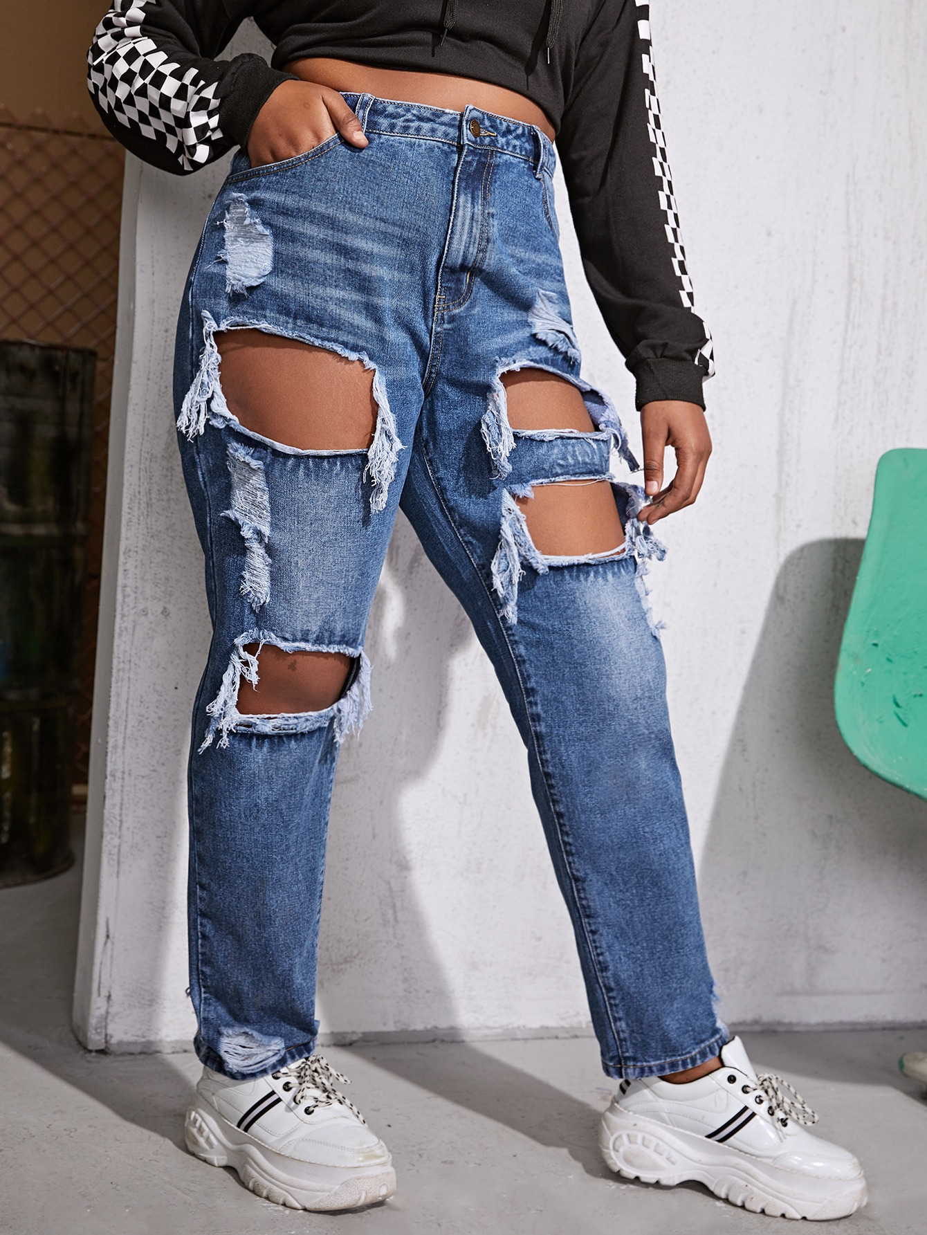 Plus High Rise Ripped Jeans thumbnail