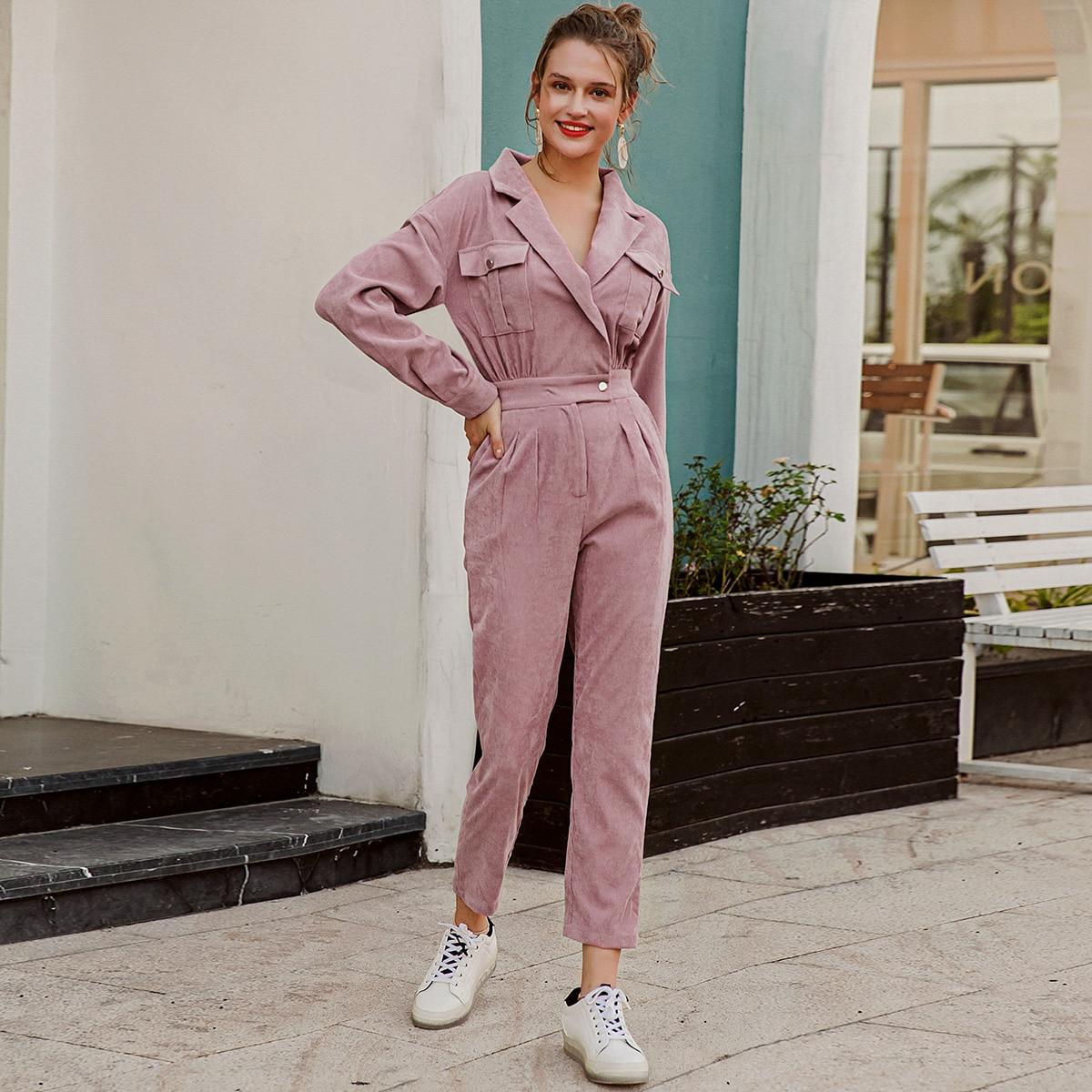 Вельветовый комбинезон-пиджак с карманом