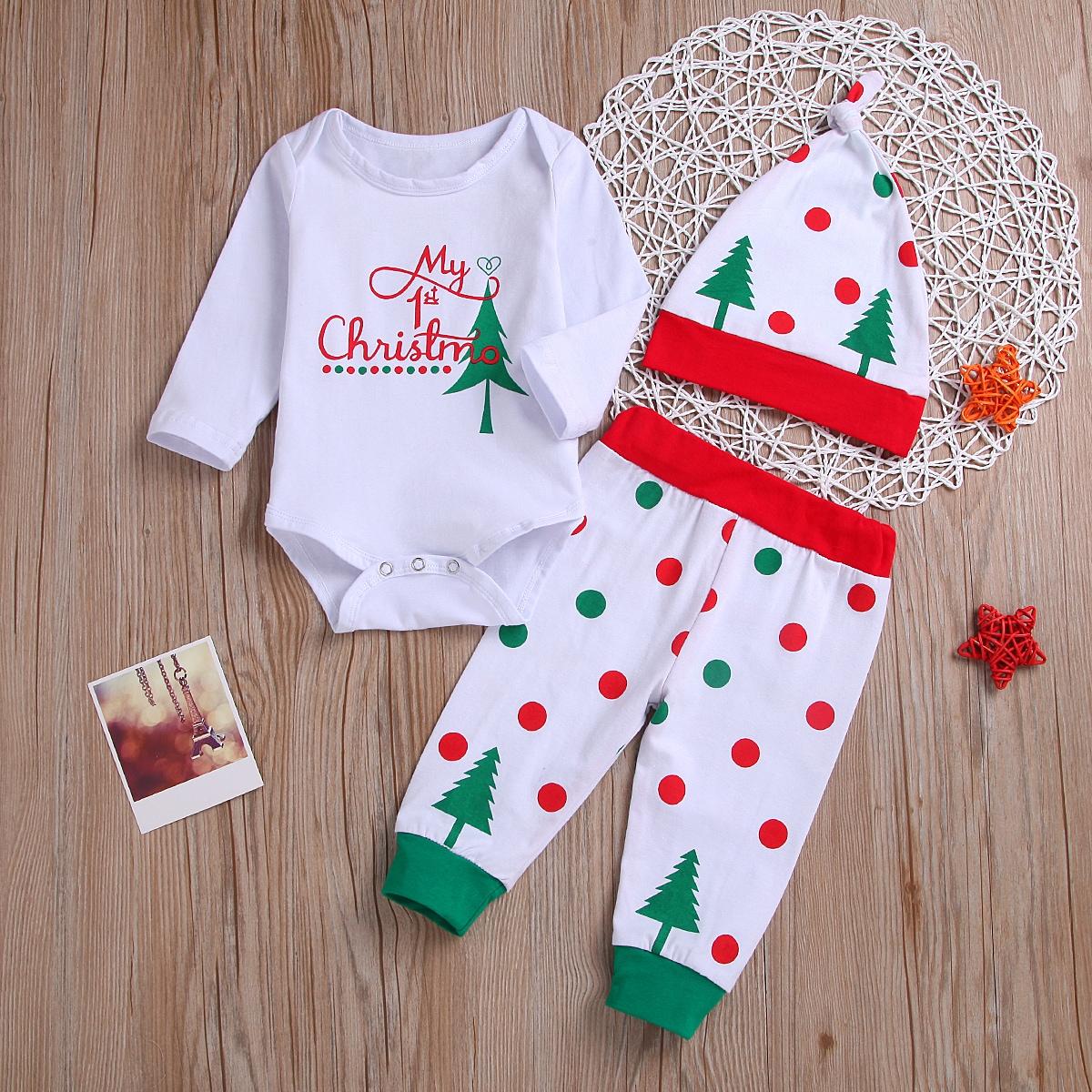 """Детское боди, спортивные брюки и шапка с принтом """"рождество"""