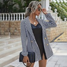 Houndstooth Shawl Collar Double Breasted Blazer