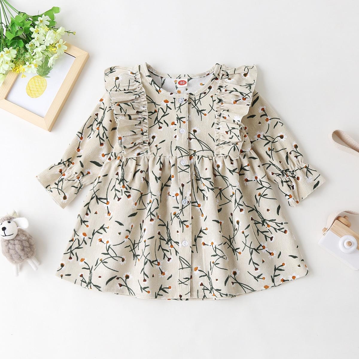 Вельветовое платье с цветочным принтом и пуговицами для девочек