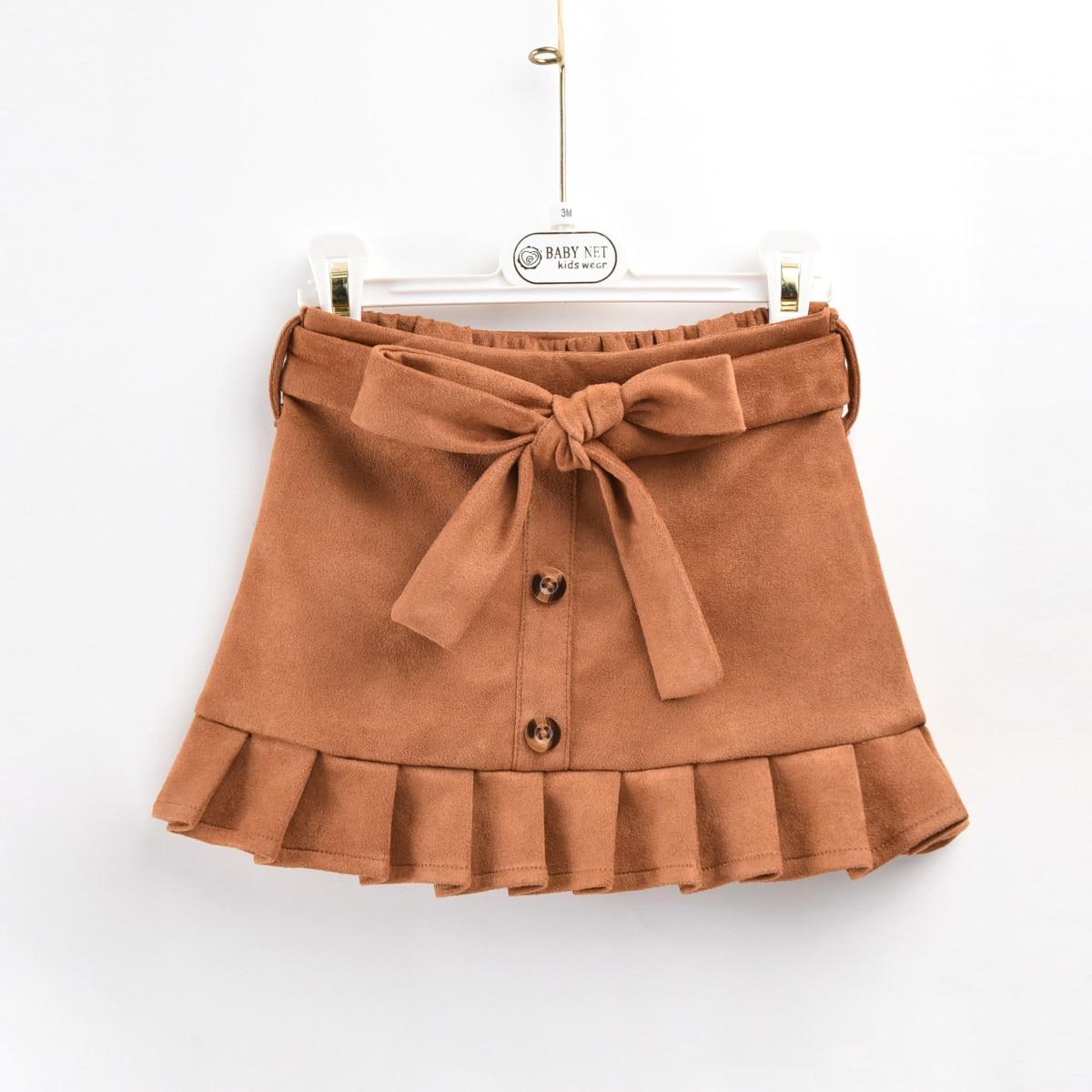 Замшевая юбка с поясом для девочек