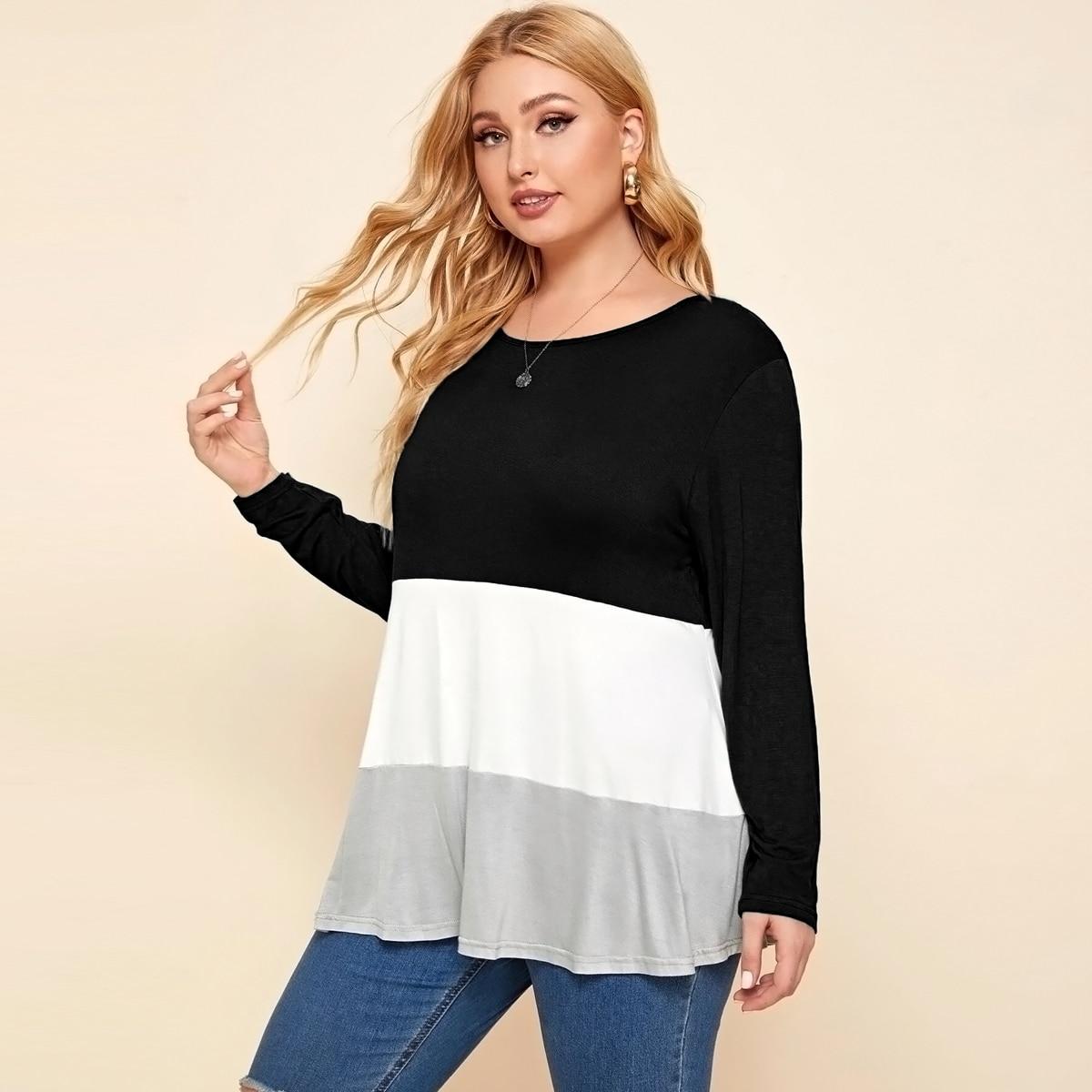 Контрастная футболка размера плюс с длинным рукавом
