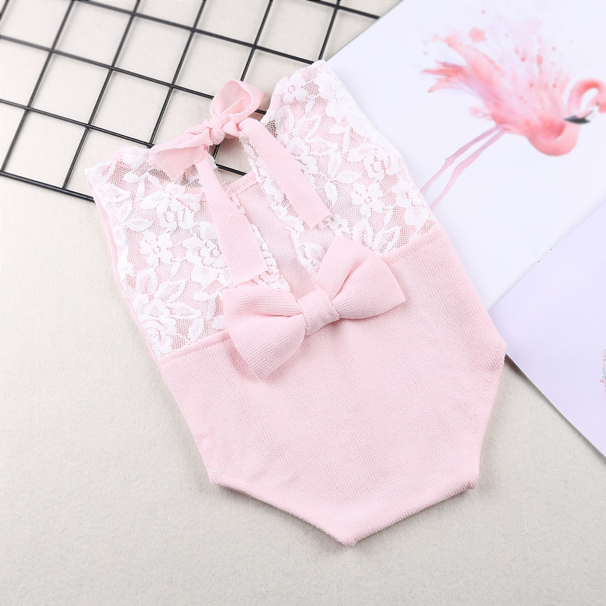 Newborn Girl Contrast Lace Bow Back Bodysuit Photo Outfit