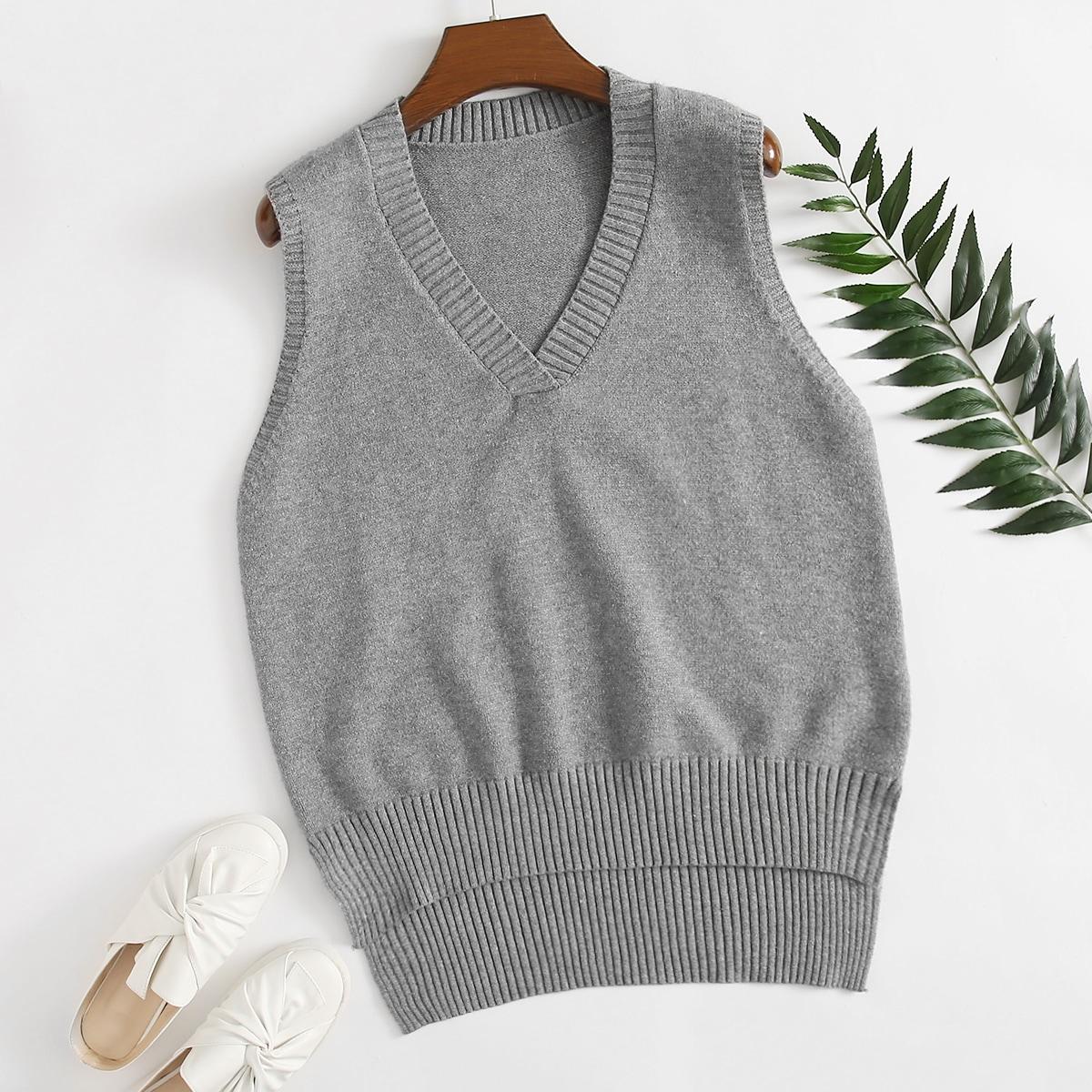 Однотонный асимметричный свитер-жилет размера плюс