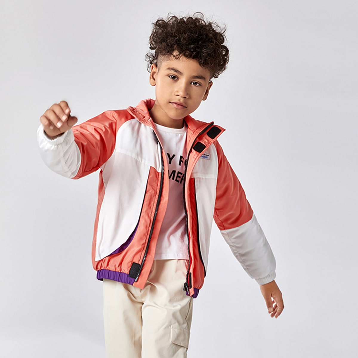 на молнии Контрастный цвет Спортивный Куртки для мальчиков