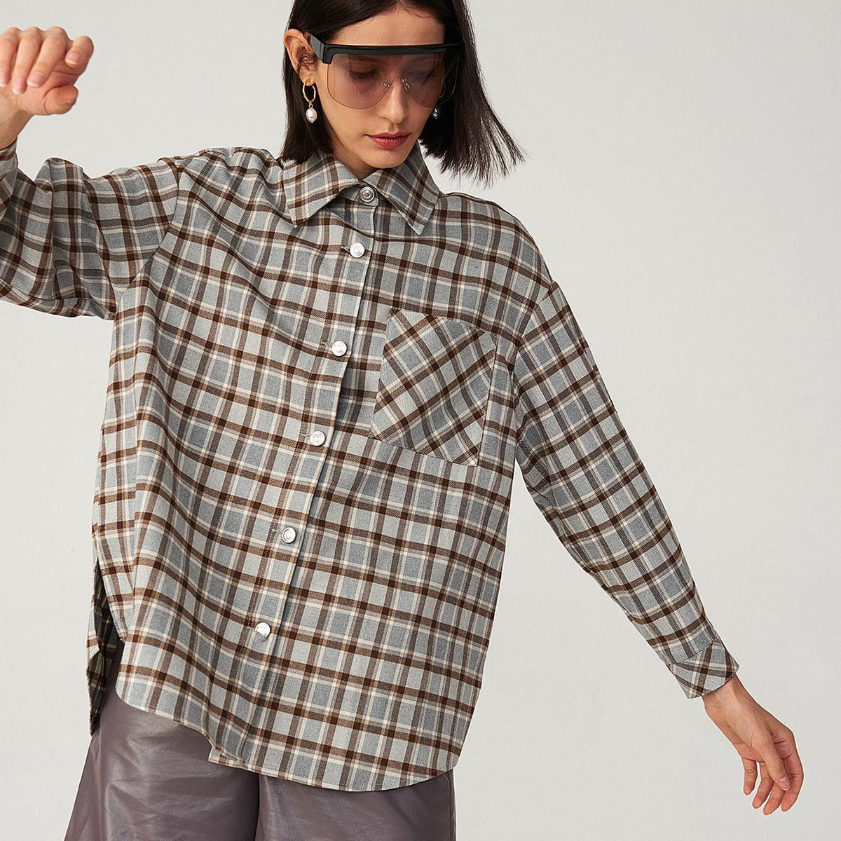 Рубашка оверсайз в клетку с карманом